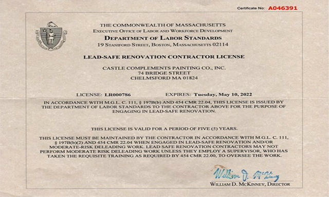 Castle Complements Painting Co Leadsafe Renovation Contractor License