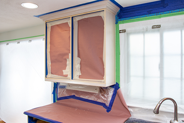 Castle Complements Painting Kitchen Cabinet Painting masking openings 9573